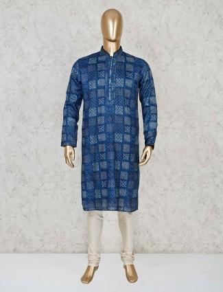 Blue festive cotton silk kurta suit