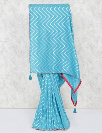 Blue festive saree in silk fabric