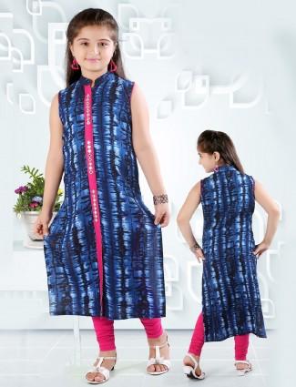 Blue festive wear cotton salwar suit