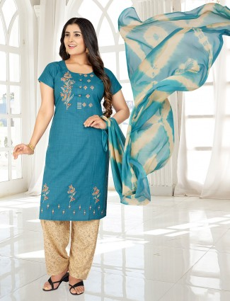 Blue festive wear punjabi salwar suit with thread work