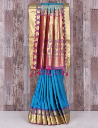 Blue festive wonderful silk saree