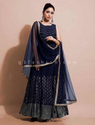 Blue floor length dress in georgette for festive