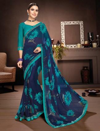 Blue floral printed saree in georgette