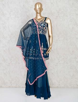 Blue georgette designer punjabi sharara suit
