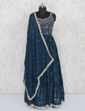 Blue georgette designer wedding wear salwar suits