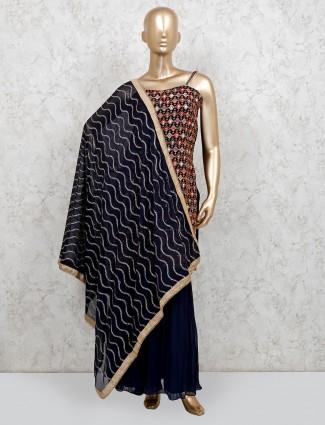 Blue georgette festive wear punjabi sharara suit