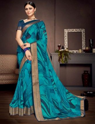 Blue georgette festive wear saree