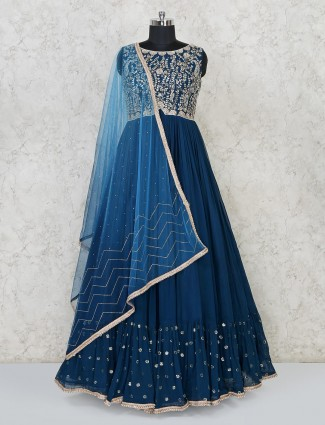 Blue georgette gown for party function
