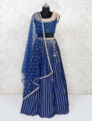 Blue georgette lehenga choli for party season