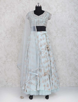 Blue georgette party lehenga choli