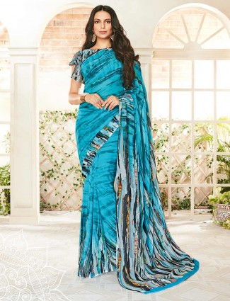 Blue georgette printed design saree