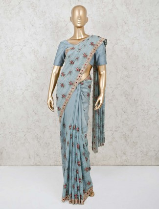 Blue georgette saree design for party