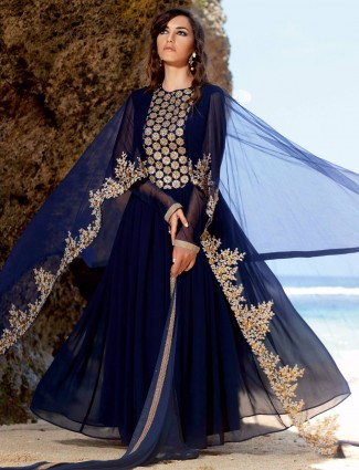 Blue georgette semi stitched anarkali festive wear salwar suit