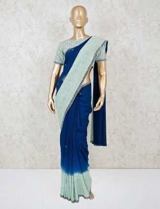 Blue georgette with readymade blouse for festive