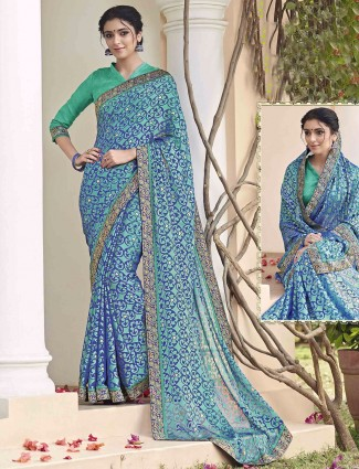 Blue green georgette brasso sareee