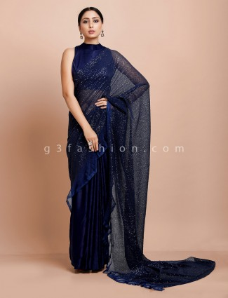 Blue half and half ready made blouse saree in net satin