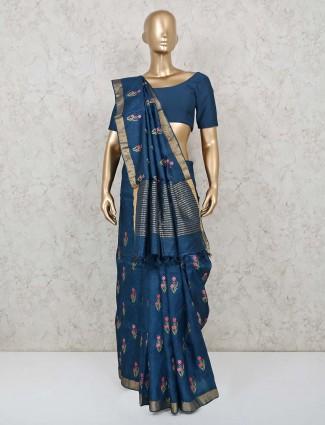Blue handloom cotton festive saree