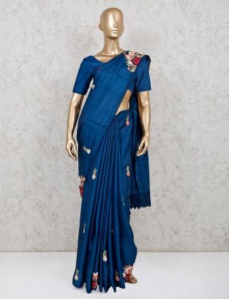 Blue handloom cotton saree for festive