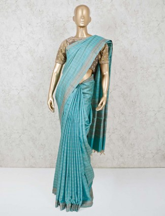 blue handloom cotton saree with readymade blouse for festive