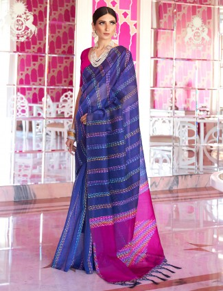 Blue handloom silk saree for festive with thread weaving