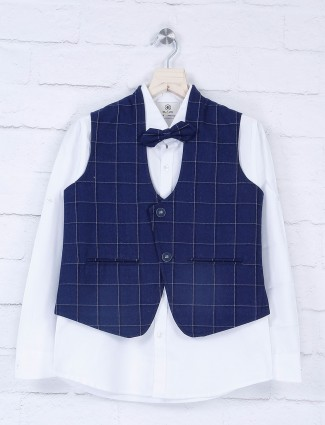 Blue hue checks waistcoat