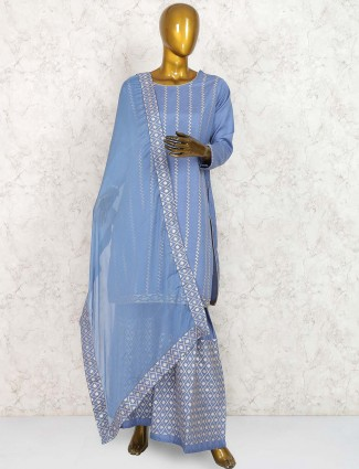 Blue hue color punjabi sharara suit