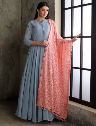 Blue color cotton silk floor length pakistani anarkali salwar suit