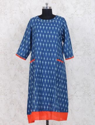 Blue hue cotton fabric casual kurti