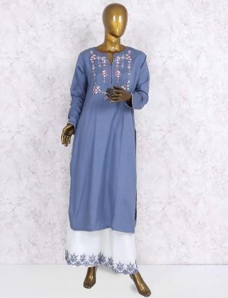 Blue hue cotton fabric punjabi palazzo suit
