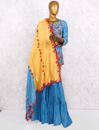 Blue hue cotton silk designer punjabi sharara suit
