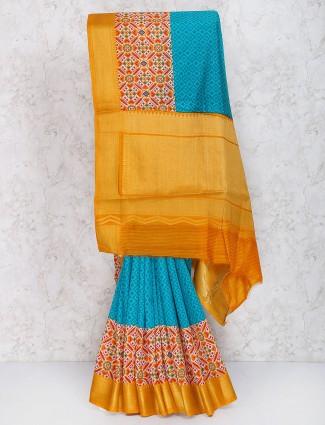 Blue hue cotton silk fabric festive saree