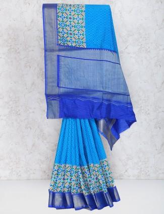Blue hue cotton silk fabric festive wear saree