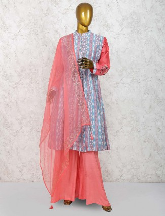 Blue hue cotton silk fabric lovely palazzo suit