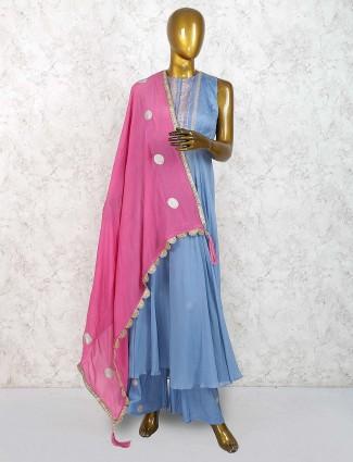 Blue hue cotton silk festive wear punjabi palazzo suit