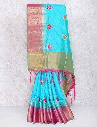 Blue hue cotton silk festive wear saree