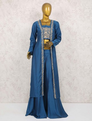 Blue hue cotton silk jacket style palazzo suit