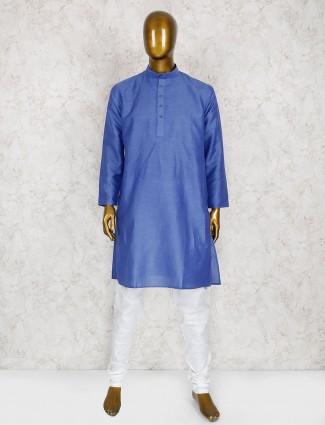 Blue hue cotton silk kurta suit
