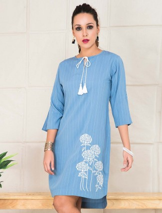 Blue hue cotton women casual top