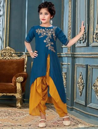 Blue hue designer cotton silk party wear dhoti suit