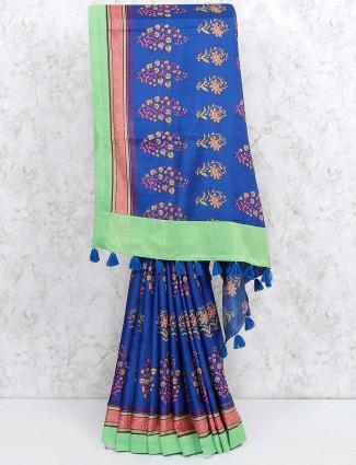 Blue hue festive saree in cotton