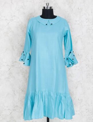 Blue hue festive wear kurti in cotton