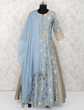 Blue hue floor length anarkali salwar suit in banarasi silk
