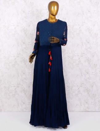 Blue hue georgette punjabi designer palazzo suit