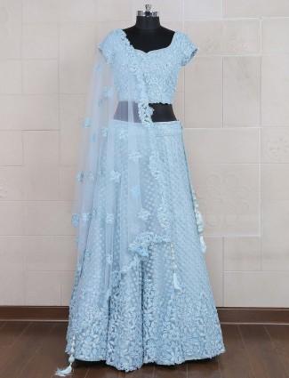 Blue hue net lehenga choli