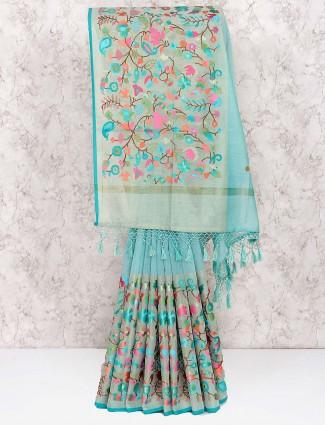 Blue hue pretty festive wear saree