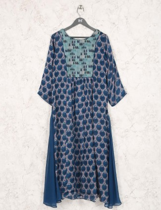 Blue hue printed cotton fabric kurti