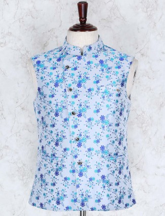 Blue hue printed pattern cotton jute waistcoat