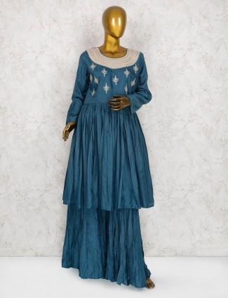 Blue hue punjabi sharara suit in cotton fabric