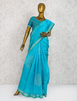 Blue hue pure silk festive wear saree