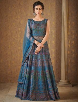 Blue hue raw silk floor length anarkali suit